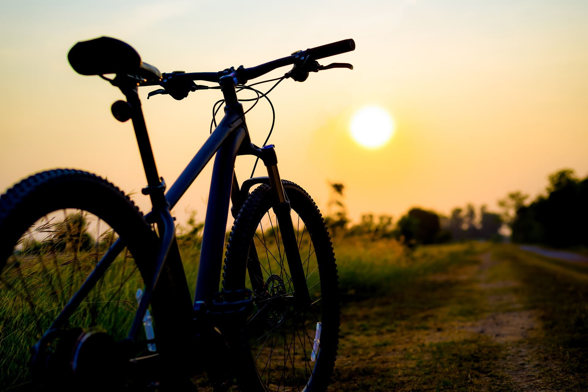 silhouette MTB, bicycle in grass at sunset